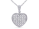 Diamond Heart Pendant Necklace 1/7 Carat (ctw)  with Chain in 14K White Gold