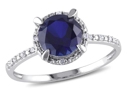 Lab Created Blue Sapphire Halo Ring 1.60 Carat with Accent Diamonds in 10K White Gold