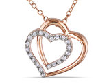 Double Diamond Heart Pendant 1/10 Carat (ctw) in Pink Plated Sterling Silver with Chain
