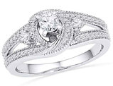 Diamond Engagement Ring 1/2 Carat (ctw Color G-H, Clarity I1) in 10K White Gold