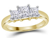 Three Stone Princess Cut Diamond Anniversary Engagement Ring 1.00 Carat (ctw) Color G-H, Clarity I1) in 14K Yellow and White Gold