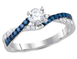 Enhanced Blue Diamond Engagement Ring 3/4 Carat (ctw Clarity I2-I3) in 14K White Gold