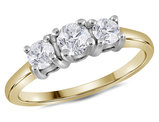 Three Stone Round Cut Diamond Anniversary Engagement Ring 3/4 Carat (ctw Color G-H, clarity I1) in 14K Yellow and White Gold