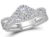 1/2 Carat (ctw Color H-I, I1-I2) Diamond Engagement Twist Ring Bridal Wedding Set in 10K White Gold