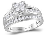 Princess Cut Diamond Engagement Ring Wedding Set 1.00 Carat (Color I-J, I2) in 10K White Gold