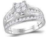 Princess Cut Diamond Engagement Ring Wedding Set 1.00 Carat (Color I-J, I2) in 10K White Gold