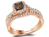 Enhanced Champagne Diamond Engagement Ring Wedding Set 1.00 Carat (Clarity I2-I3) in 14K Rose Pink Gold