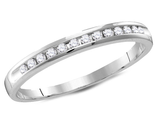 Ladies 14K White Gold 1/2 Carat (ctw G-H, I2-I3) Semi Eternity Diamond Wedding Anniversary Band