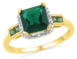 Lab Created Green Emerald 1/5 Carat (ctw) Ring in 10K Yellow Gold