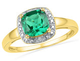 Lab Created Princess Cut Green Emerald 1.75 Carat (ctw) Solitaire Ring 10K Yellow Gold