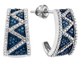 Enhanced Blue Diamond j Hoop Earrings 1/12 Carat (ctw) in 10K White Gold