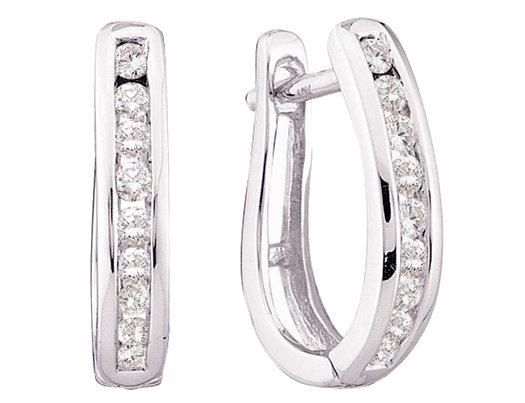 Channel-Set Diamond Hoop Earrings 1/4 Carat (ctw H-I, I2-I3) in 10K White Gold