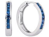 1/2 Carat Color Enhanced Blue Diamond Hoop Earrings in 10K White Gold