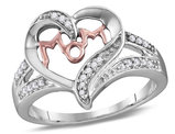 Diamond Heart MOM Ring in Sterling Silver with Accent Diamonds 1/10 (ctw)