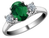 Emerald Ring with Diamonds 3/4 Carat (ctw) in 14K White Gold