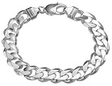 Men's Bracelet Curb Chain 8 Inches in Sterling Silver .925 11mm