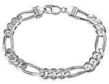 Men's Bracelet Figaro Chain 9 Inches in Sterling Silver
