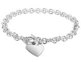 Toggle Heart Tag Charm Bracelet in Sterling Silver