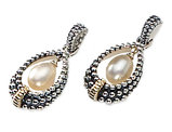 Cultured Freshwater Pearl Drop Earrings in Antique Sterling Silver with 14K Gold Accents