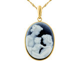 Mother, Grandmother and Child 14K Yellow Gold Agate Cameo Pendant Necklace (15 x 20 mm)