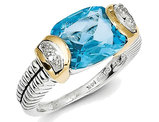 Blue Topaz and Diamond Cable Ring 5.00 Carat (ctw) in Sterling Silver