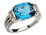 Blue Topaz and Diamond Cable Ring 6.37 Carat (ctw) in Sterling Silver