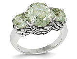 Green Amethyst Three Stone Ring 4.50 Carat (ctw) in Sterling Silver