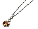Citrine Gemstone Pendant Necklace 2.01 Carat (ctw) in Sterling Silver with 14K Gold Accents
