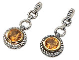 Citrine Gemstone 1.5 Carat (ctw) Drop Earrings in Sterling Silver with 14K Gold Accents