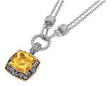Citrine and Diamond Necklace 10.50 Carat (ctw) in Sterling Silver