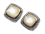 White Mother of Pearl Earrings in Sterling Silver with 14K Yellow Gold Accents