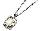 White Mother of Pearl Necklace in Sterling Silver with 14K Gold Accents