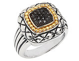 Black Diamond Pave Ring 1/10 Carat (ctw) in Sterling Silver with 14K Gold Accents