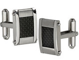 Men's Chisel Stainless Steel Black Carbon Fiber Rectangle Cuff Links