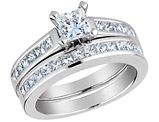 Princess Cut Diamond Engagement Ring & Wedding Band 1.33 Carat (ctw) 14K White Gold