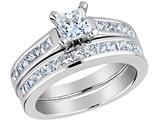 Princess Cut Diamond Engagement Ring & Wedding Band 1.33 Carat (ctw) 14K White Gold