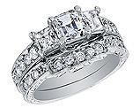 Diamond Asscher Engagement Ring & Wedding Band 1.80 Carat (ctw) 14K White Gold