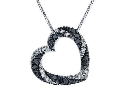 Black diamond heart necklace all collections of necklace white and black diamond heart pendant necklace 1 4 carat ctw in aloadofball Image collections