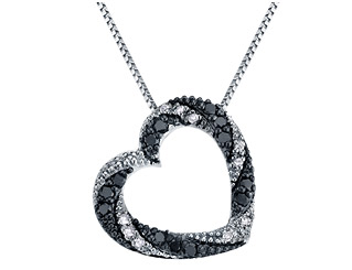 White and Black Diamond Heart Pendant Necklace 1/4 Carat (ctw , Single Cut) in Sterling Silver