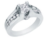 Princess Cut Diamond Engagement Ring 1.00 Carat (ctw) 14K White Gold