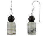 Black Synthetic Crystal and Quartz Dangling Drop Earrings in Sterling Silver