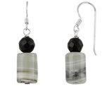 Black Crystal and Quartz Dangling Drop Earrings in Sterling Silver