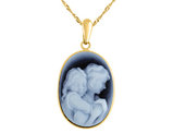 Blue Agate A Mother's Love Cameo in 14K Yellow Gold with Chain