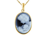 Blue Agate A Mother's Love Cameo in 14K Yellow Gold with Chain (13 x 18 mm)