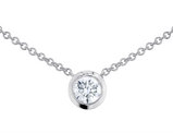 Solitaire Diamond Pendant Necklace 1/3 Carat (ctw) in 14K White Gold with Chain