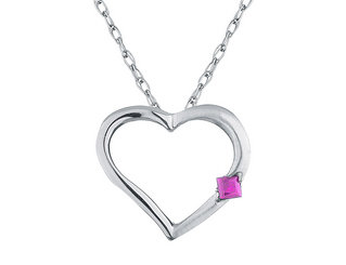 Pink Sapphire Heart Pendant Necklace in 14K White Gold with Chain