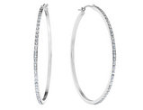 Large Diamond Hoop Earrings in 14K White Gold (1 3/4 Inch)