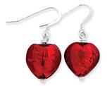 Red Murano Glass Heart Earrings in Sterling Silver