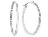 Diamond Round Hinged Hoop Earrings in 14K White Gold