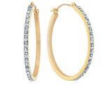 Diamond Hinged Round Hoop Earrings in 14K Yellow Gold (1 1/8 Inch)